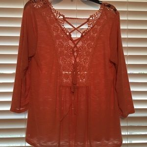 PEACH COLOR WOMENS LS TUNIC